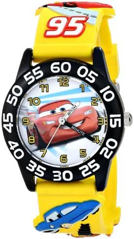 Disney Kids' W001505 Time Teacher Disney Cars Watch With Yellow 3-D Plastic Band